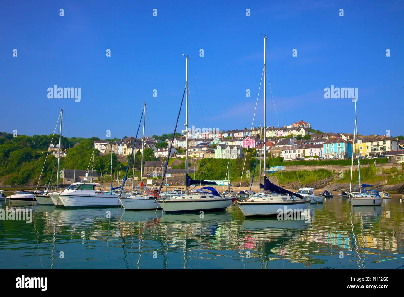 The Harbour at New Quay, Cardigan Bay, Wales, United Kingdom, Europe, - Stock Image