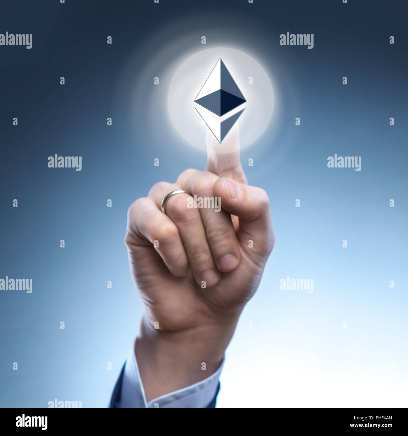 hand man touch the ripple icon - Stock Image