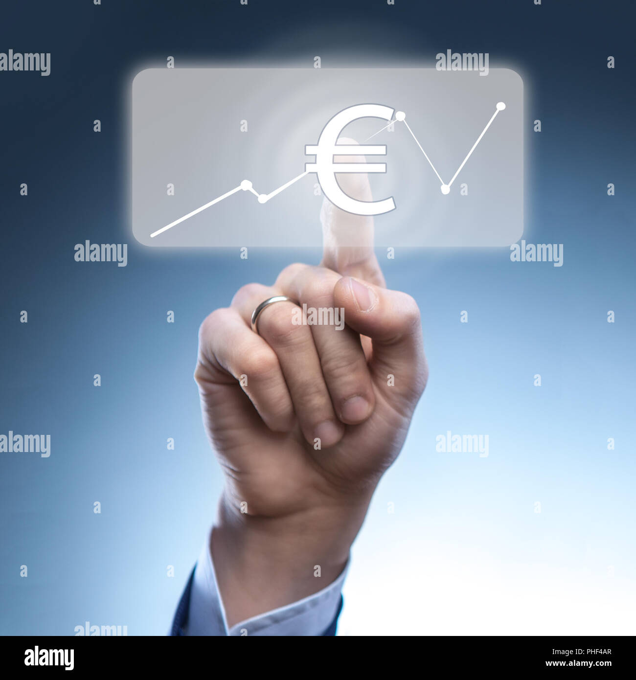 Businessman touched euro currency icon - Stock Image