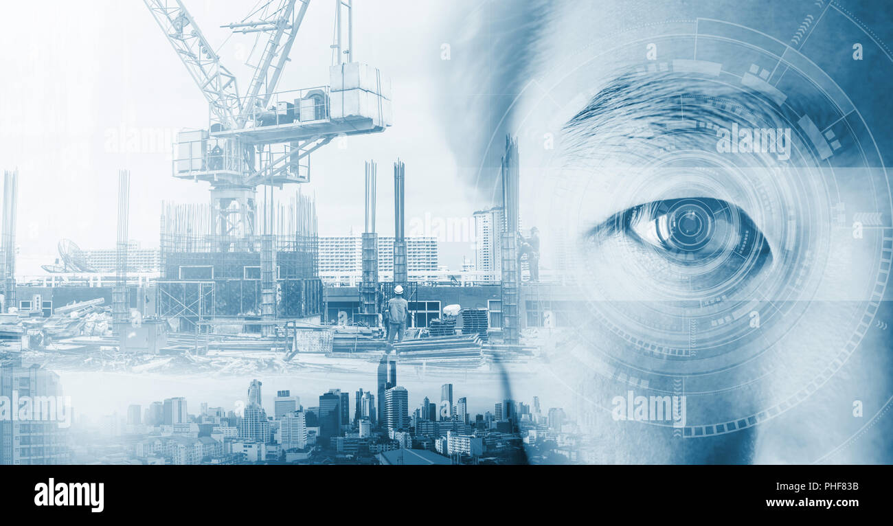 Technology Management Image: Double Exposure, Eye With Futuristic Technology And