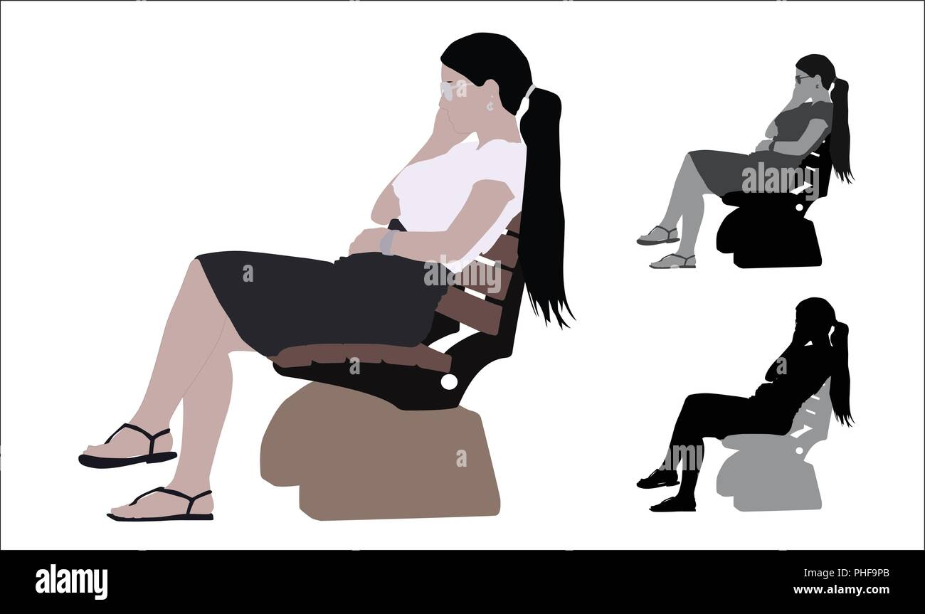 Realistic flat colored illustration of a young business woman sitting a bench in Park - Stock Vector