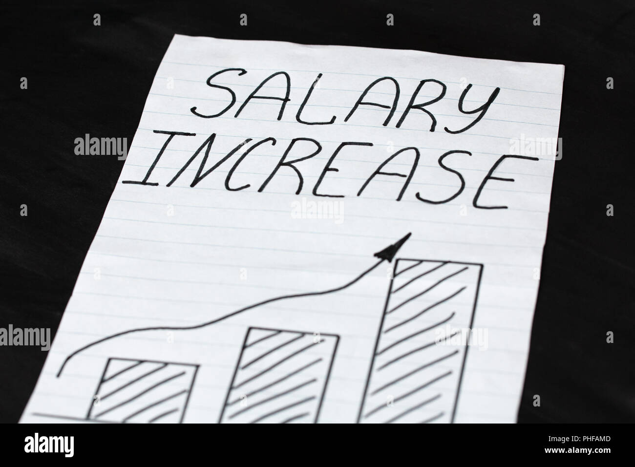 Handwritten Text Salary Increase With A Growth Chart On A Black