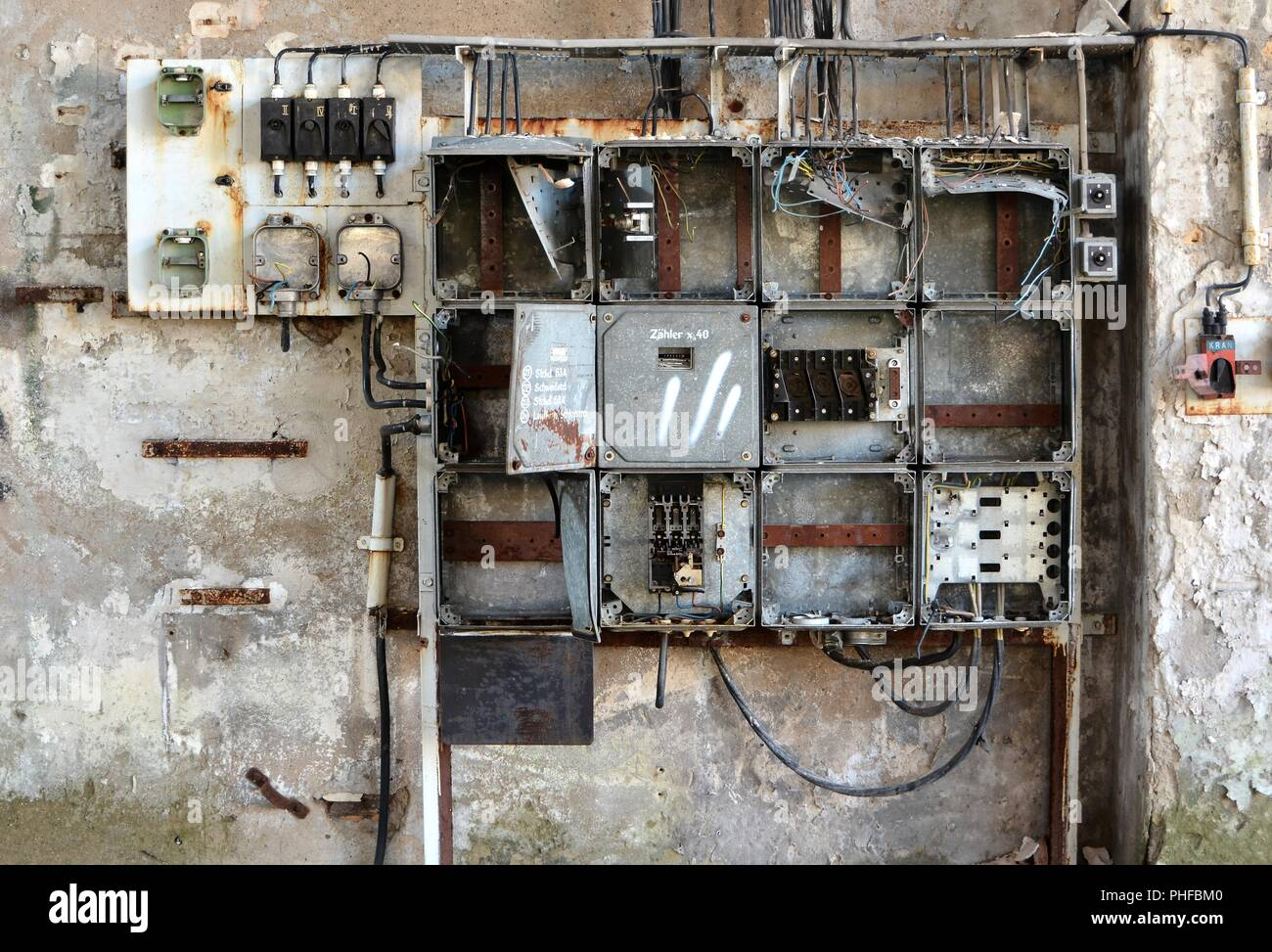 Fuse box on the site of an abandoned factory in Magdeburg