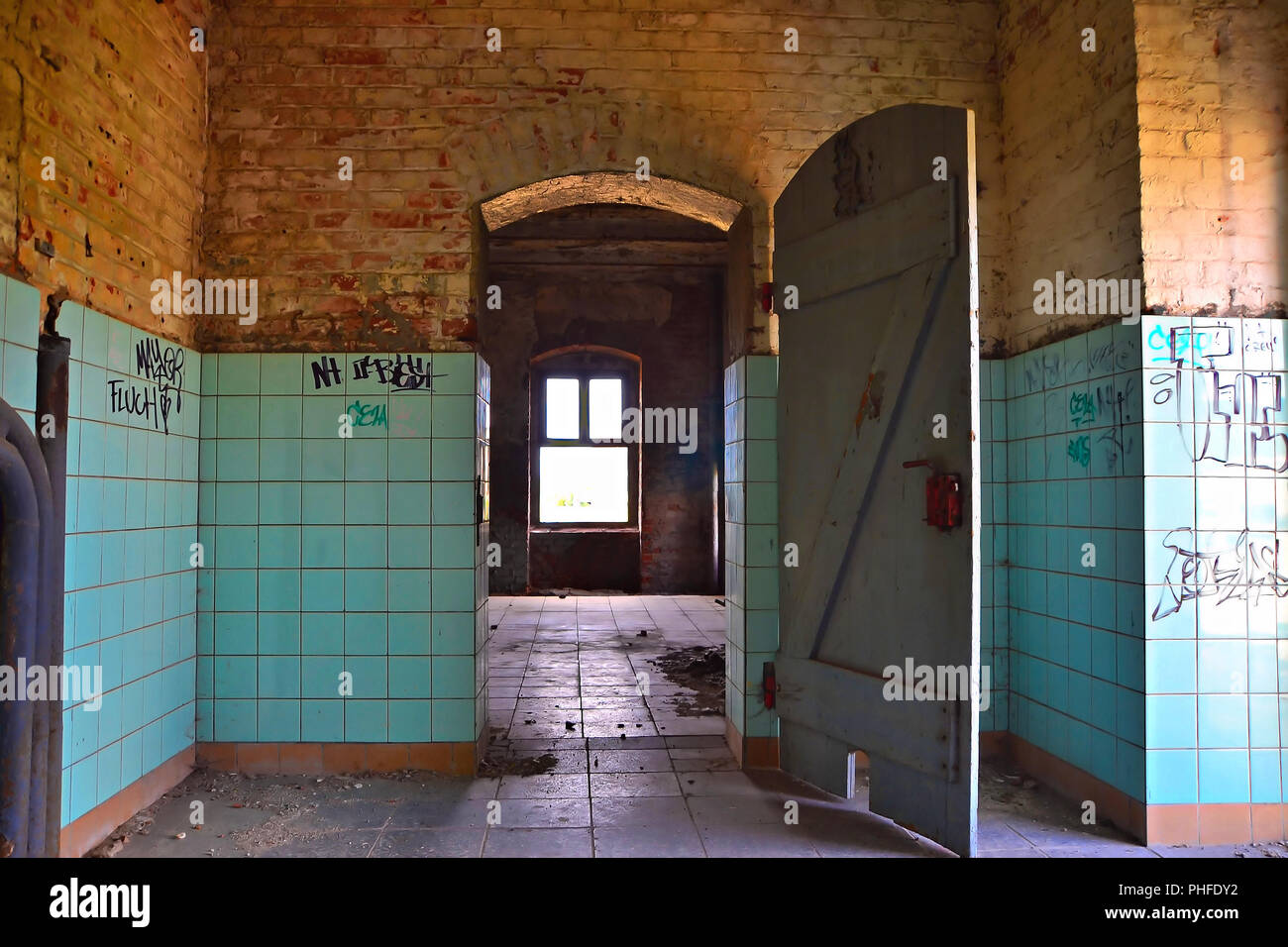 Room in a former brewery in Magdeburg - Stock Image