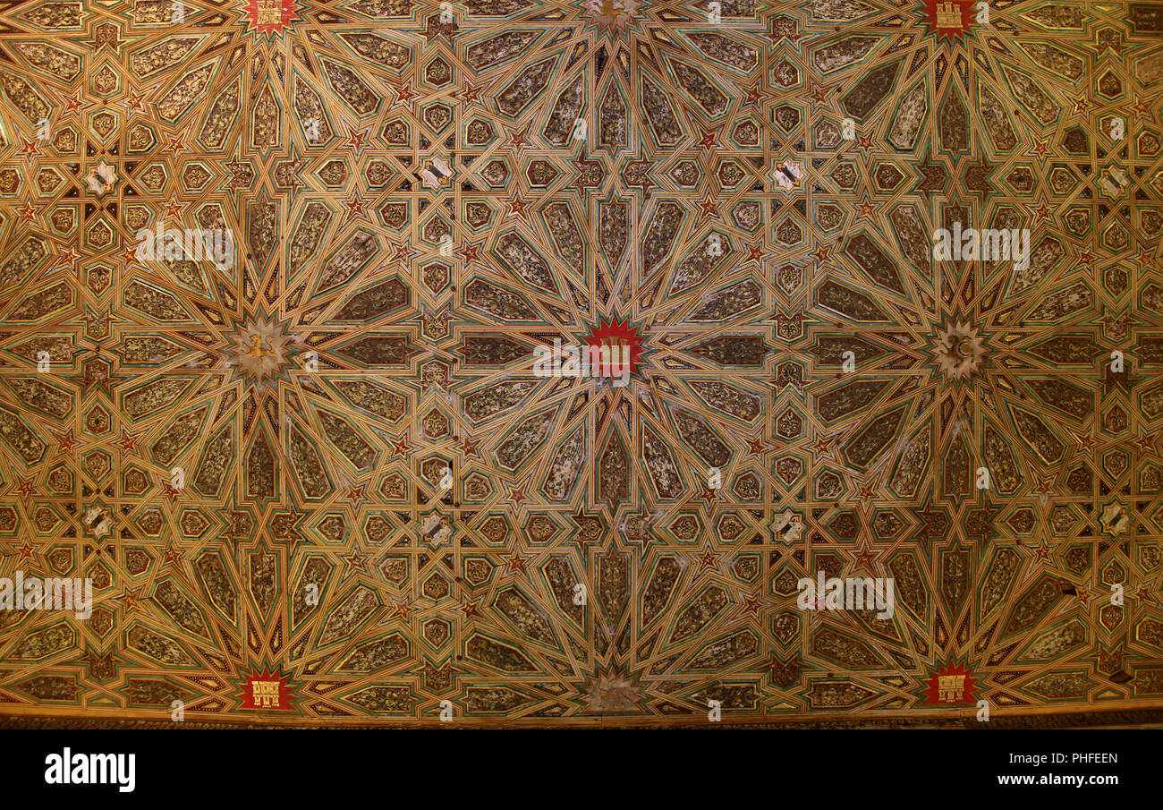 Royal Palace Real Alcazar - ornate wooden ceiling Stock Photo
