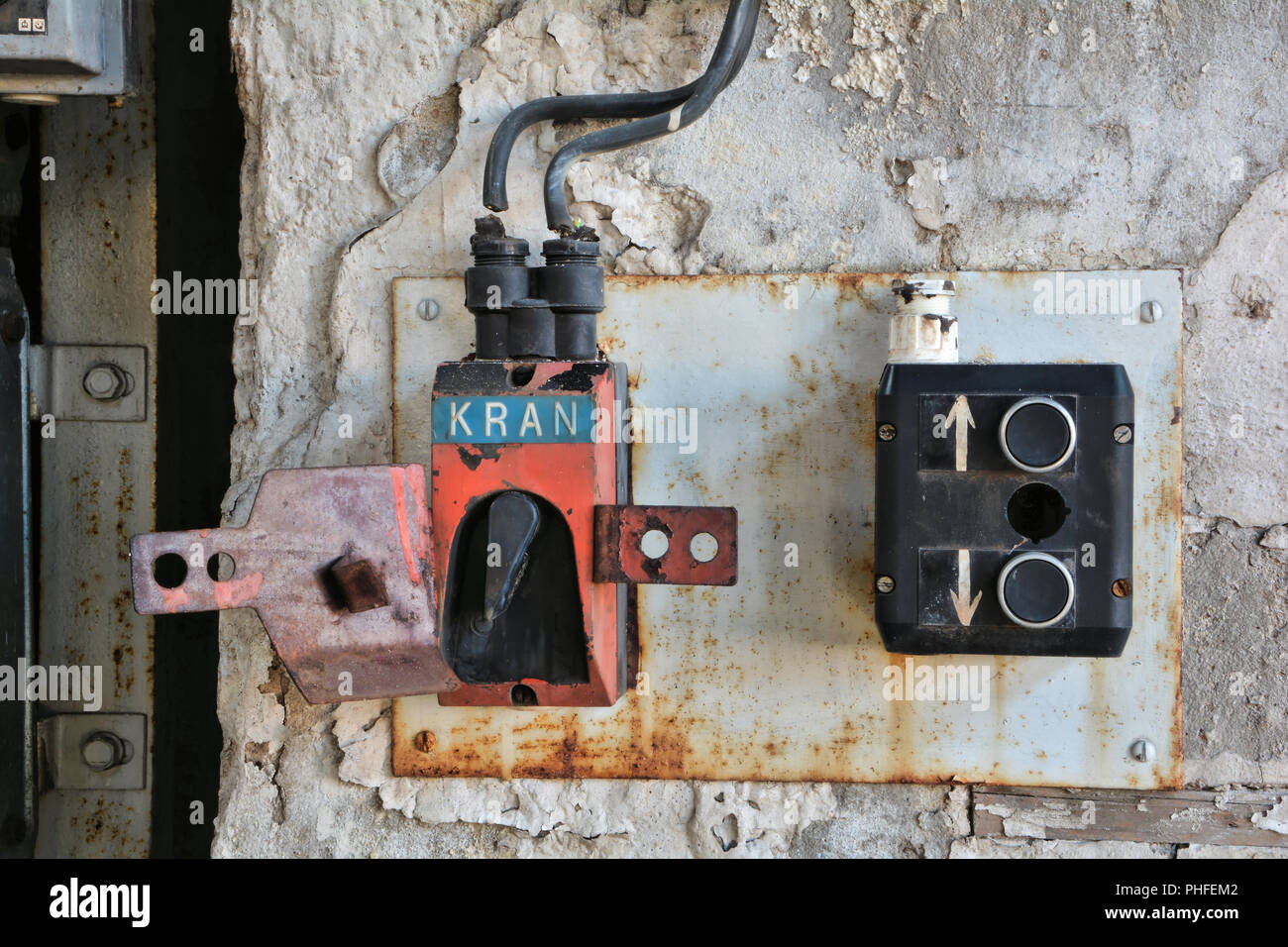 Switch for a crane in an abandoned factory in Magdeburg - Stock Image