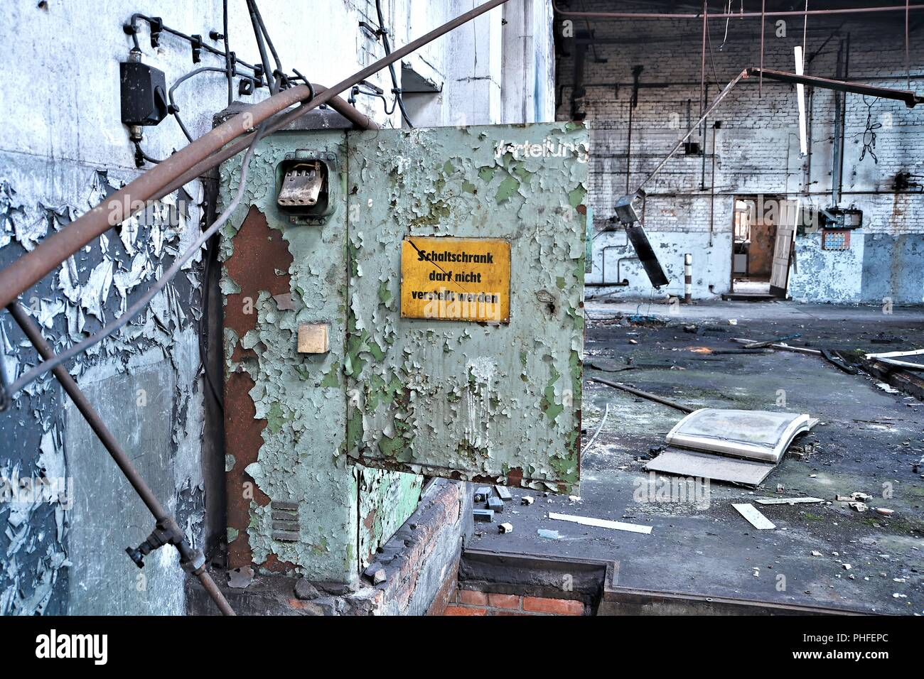 Fuse box in an abandoned factory building in Magdeburg - Stock Image