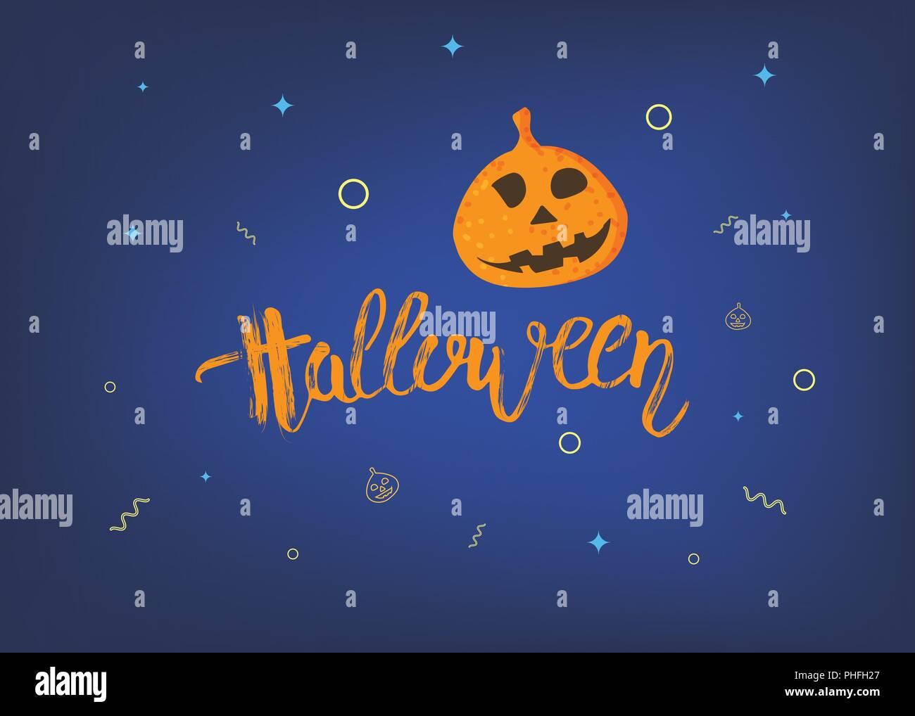 halloween template with pumpkin shape and handwritten dry brush