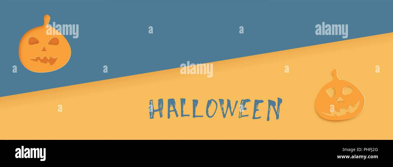 happy halloween template with paper cut pumpkin shapes elements for