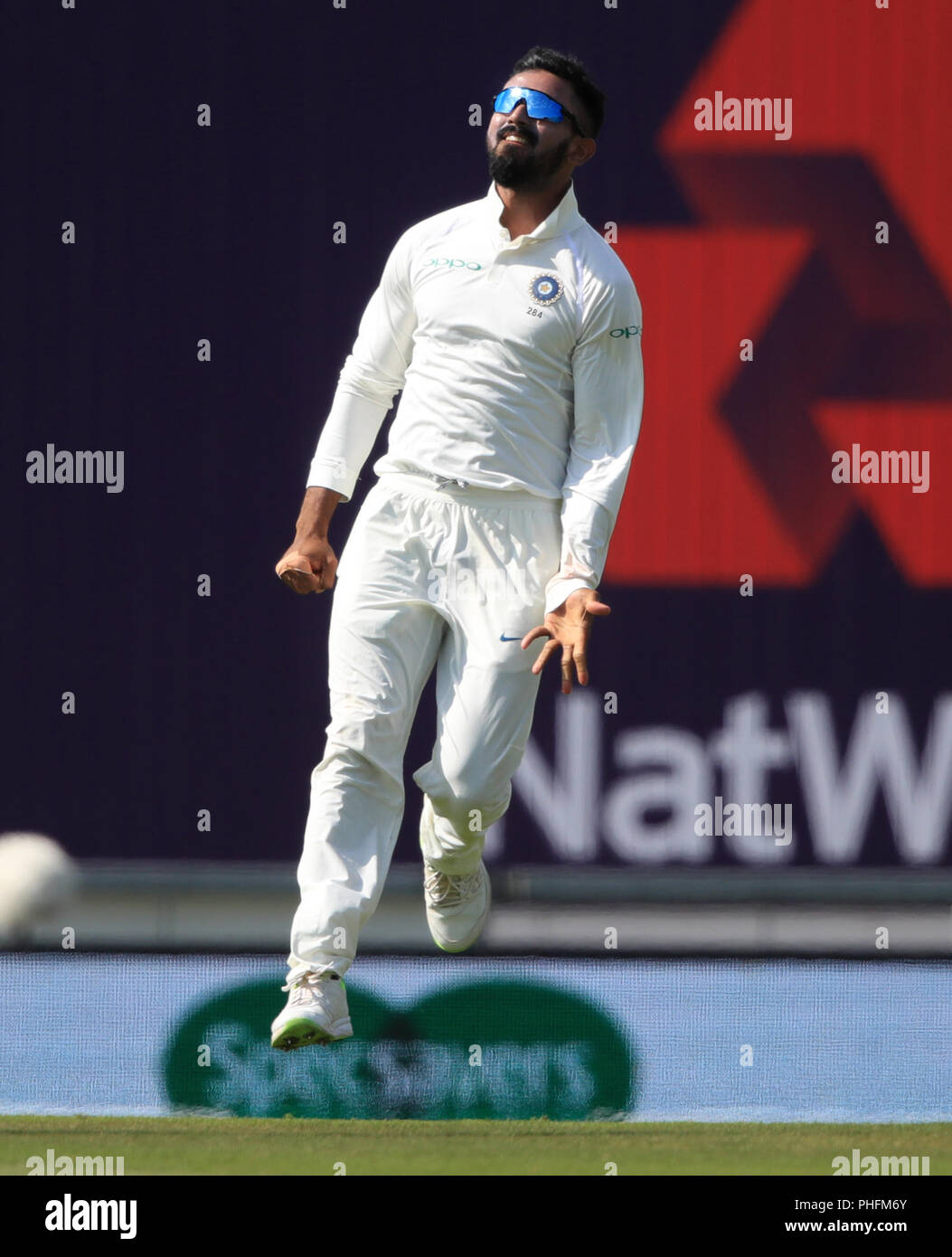 India's KL Rahul celebrates catching the ball of England's Alastair Cook during day three of the fourth test at the AGEAS Bowl, Southampton. - Stock Image