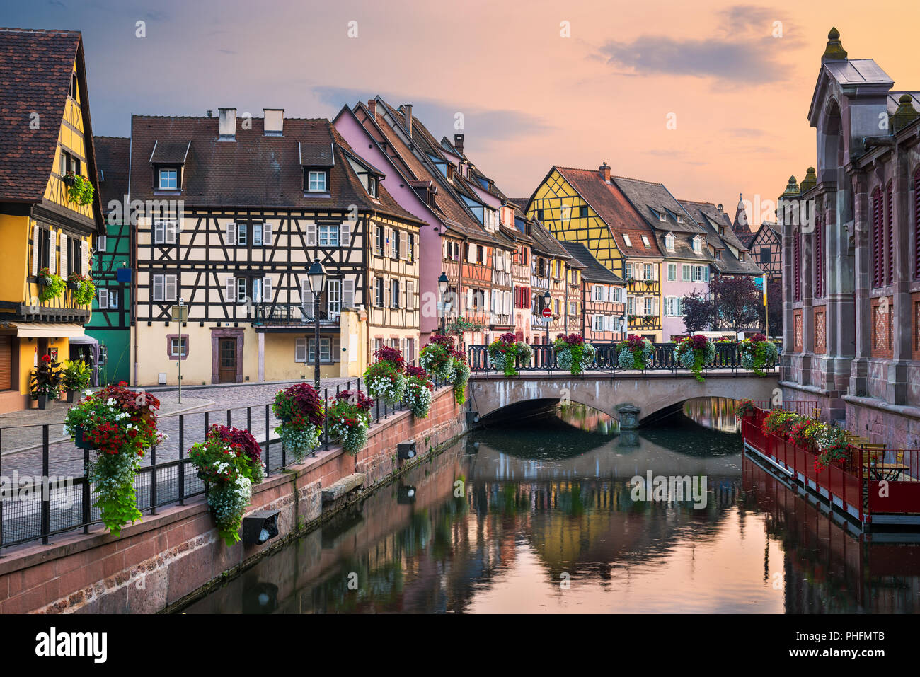 Elsass Karte Colmar.Evening In The Old Town Of Colmar Alsace France Stock Photo
