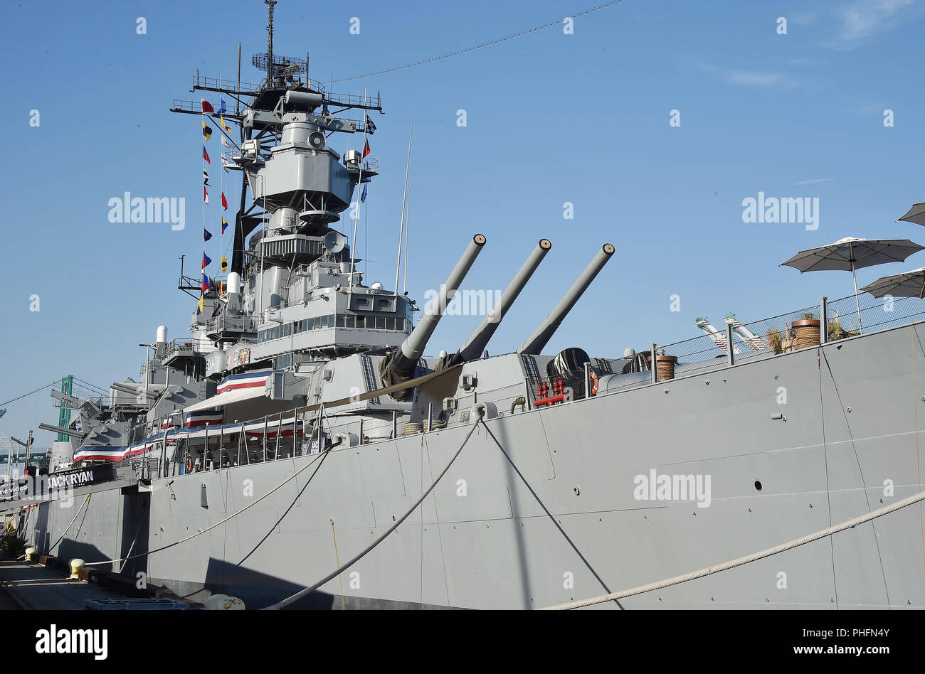 USS BATTLESHIP USS IOWA BB-61hosted   the premiere of 'Tom Clancy's Jack Ryan' at The Opening Night of Los Angeles Fleet Week 2018  on August 31, 2018 in San Pedro, California. Photo:Jeffrey Mayer - Stock Image