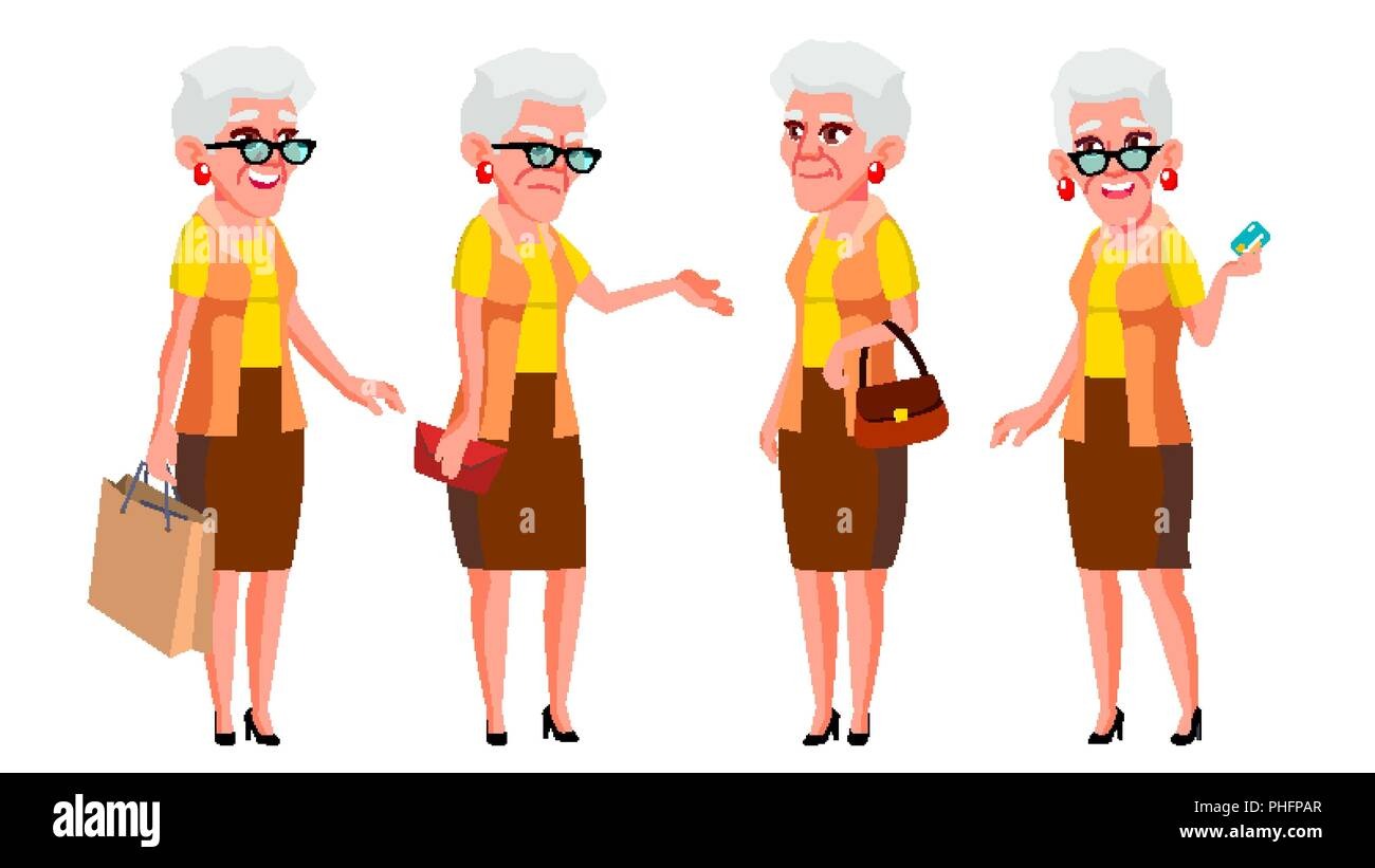 Image of: Couple Old Woman Poses Set Vector Elderly People Senior Person Aged Cute Retiree Activity Advertisement Greeting Announcement Design Alamy Old Woman Poses Set Vector Elderly People Senior Person Aged