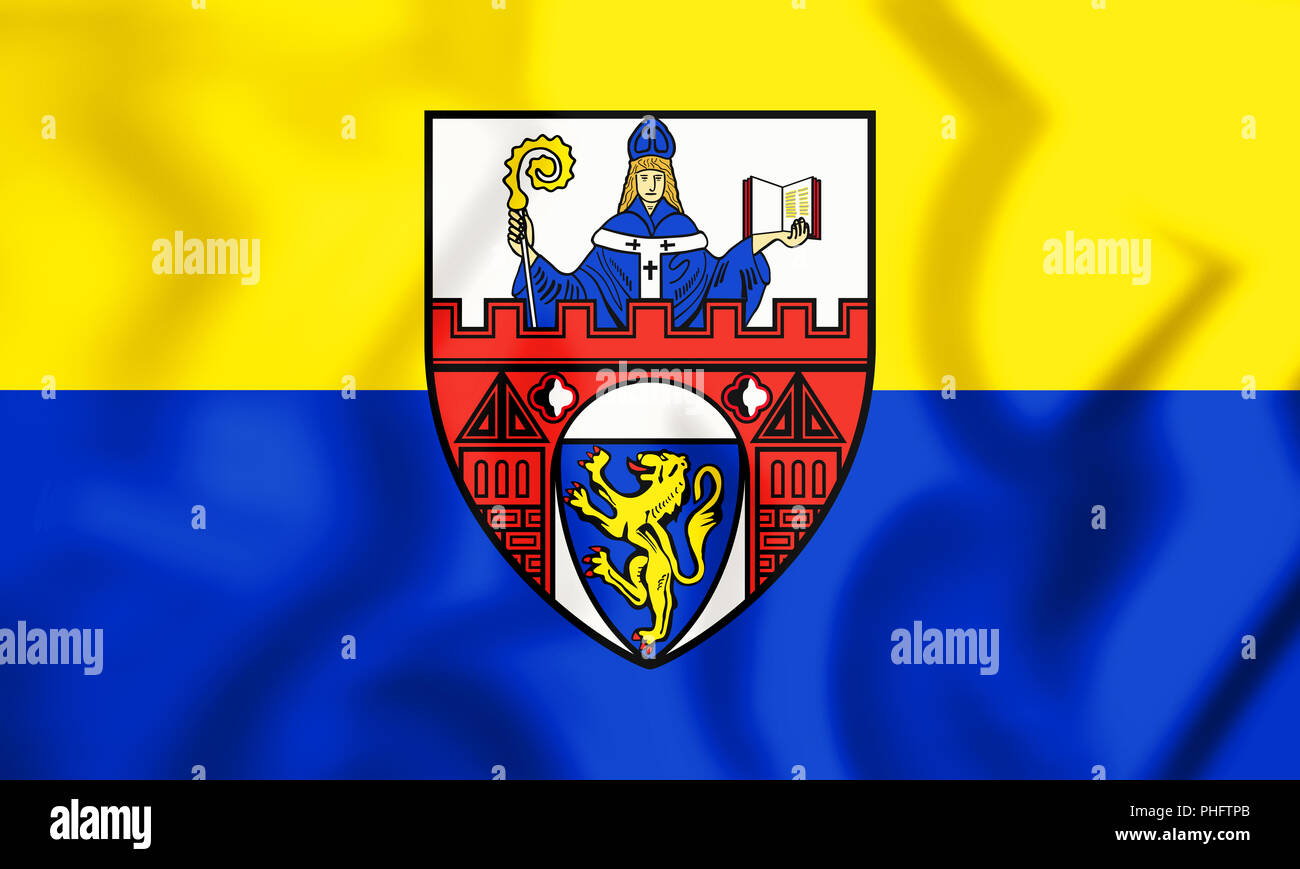 3D Flag of Siegen (North Rhine-Westphalia), Germany. 3D Illustration. - Stock Image