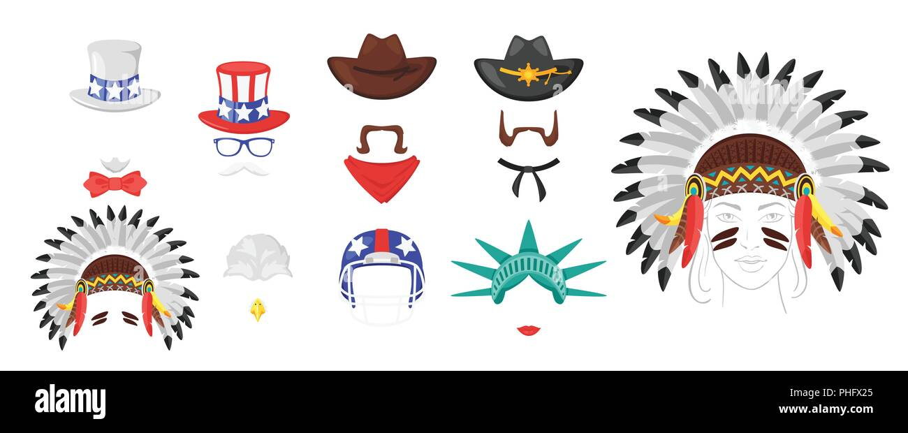 Vector cartoon style set of USA icons face element or carnival mask. Decoration item for your selfie photo and video chat filter. American symbols. Is - Stock Image