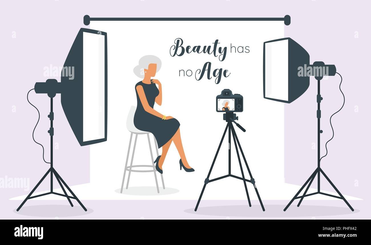 Vector flat style illustration of photo equipment in photography studio with lights and camera. Elderly old beautiful woman model sitting posing for p - Stock Vector