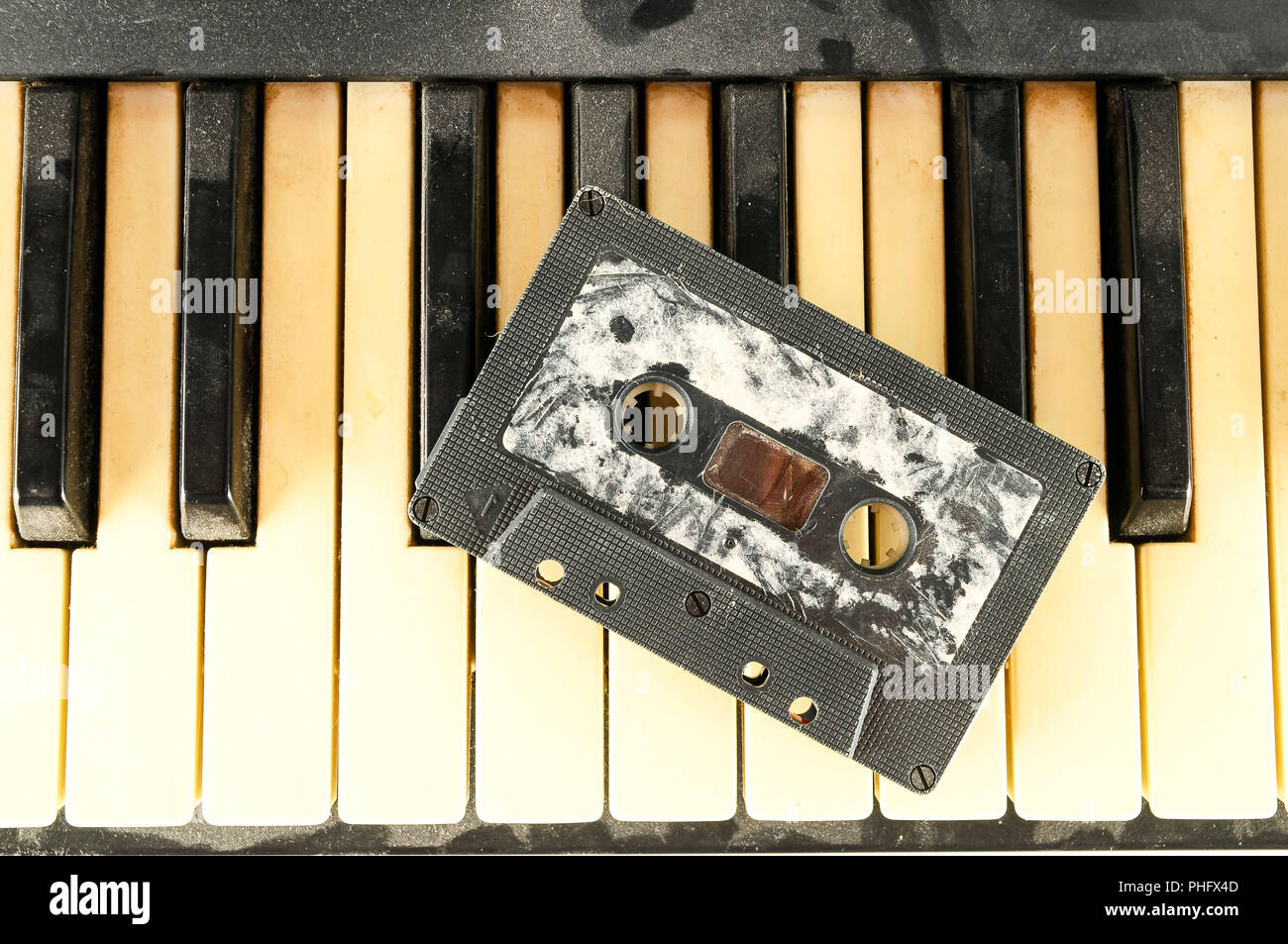close-up of piano keys - Stock Image
