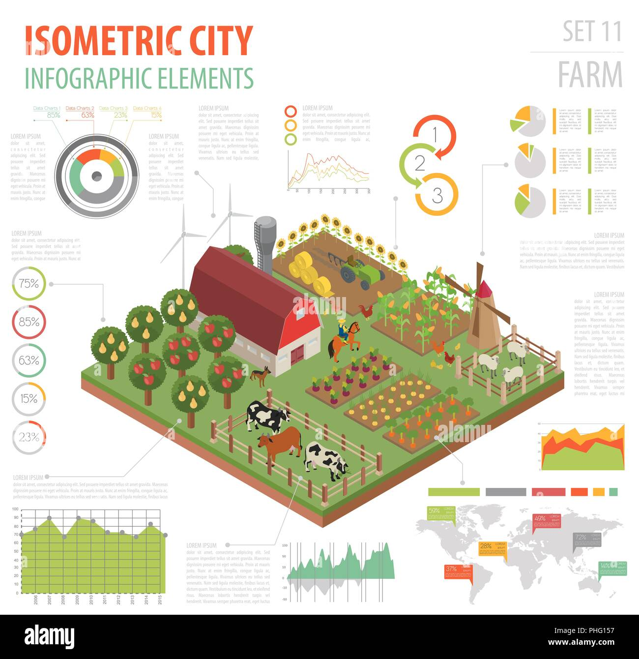 Flat 3d Isometric Farm Land And City Map Constructor Elements Build Your Own Circuit Isolated On White Infographic Collection Vector Illustration