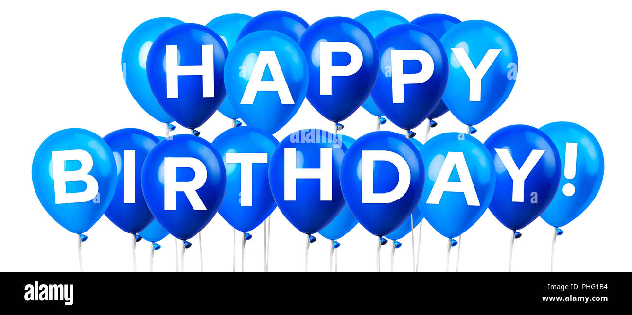 Large Group Of Light Sky Blue Balloon Isolated On A White Background And Happy Birthday Lettering