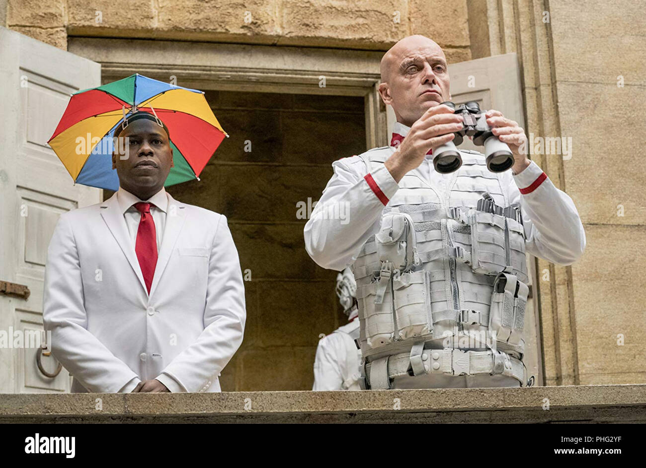 PREACHER 2016 AMC/Sony Pictures film Malcolm Barrett at left and Pip Torrens - Stock Image