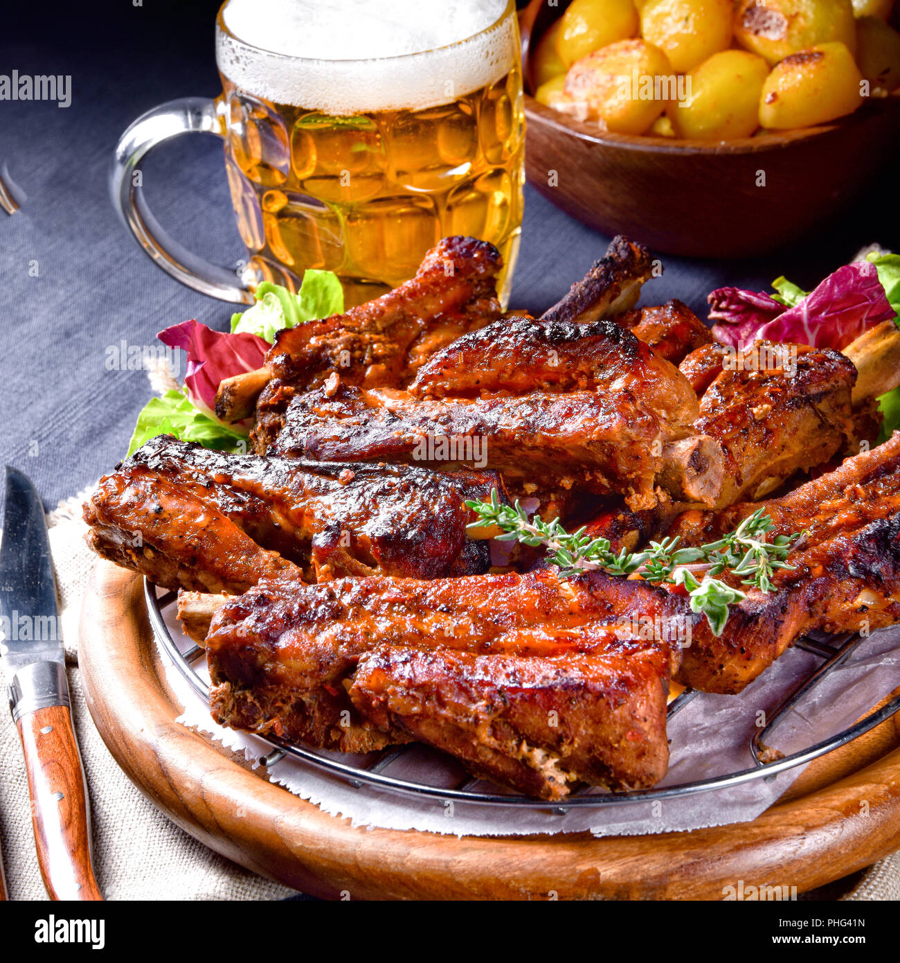 Delightful BBQ Spareribs from the Smoker - Stock Image