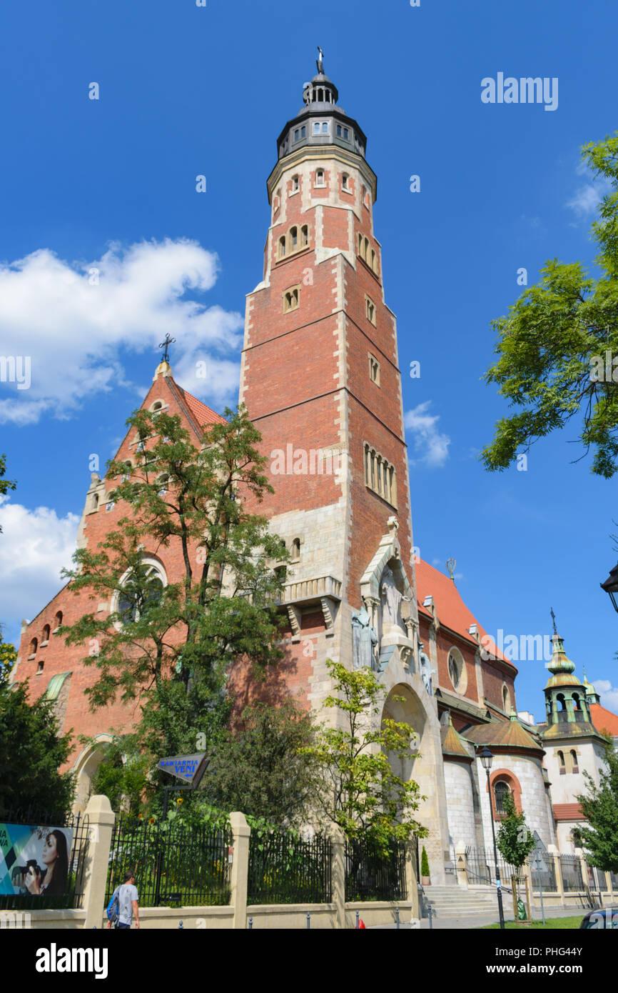 Krakow, Poland - August 13 2018: Basilica of the Sacred Heart of Jesus - Stock Image