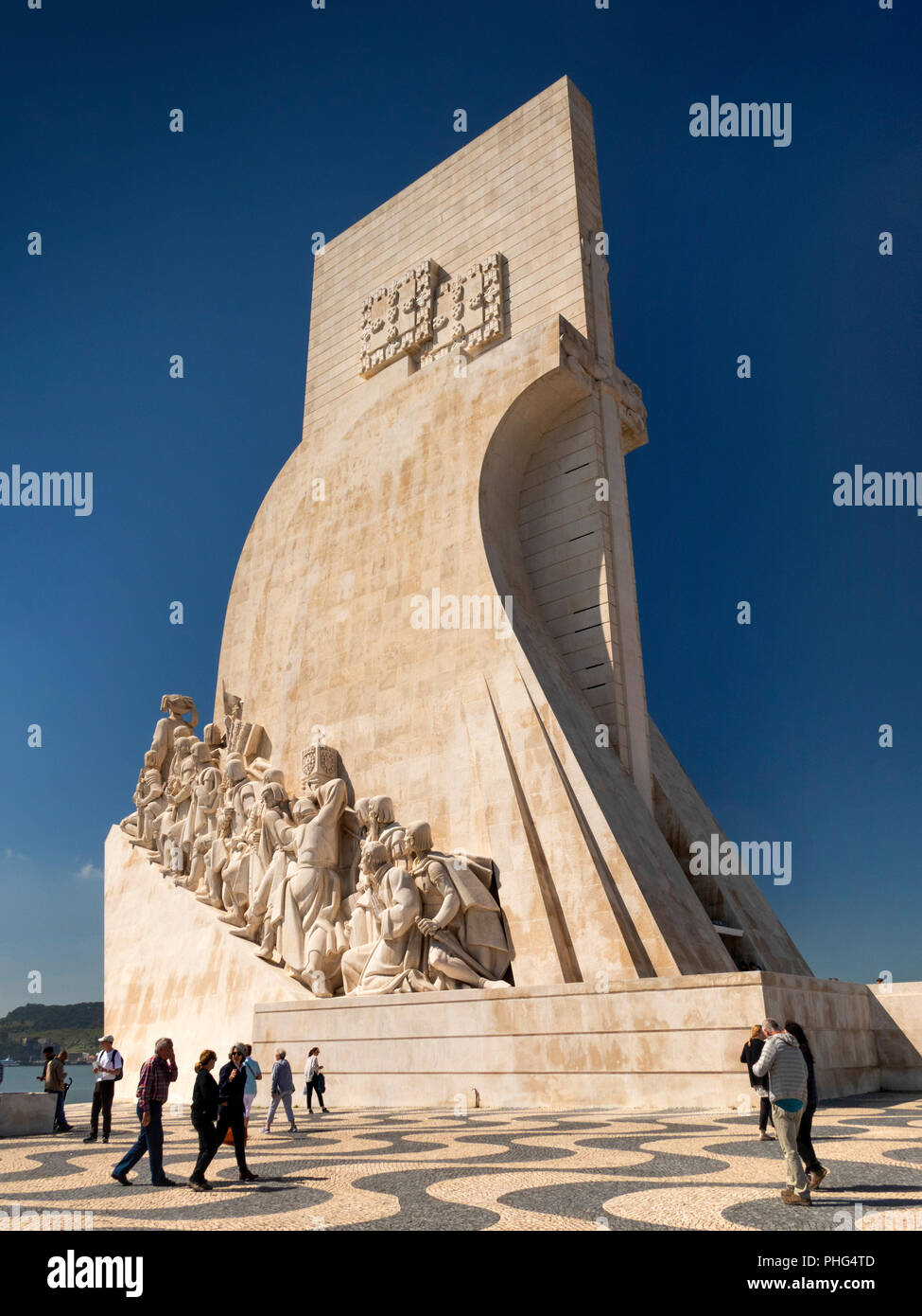 Portugal, Lisbon, Belem, Padrao dos Deccobrimentos, the discoveries monument, memorial to seafaring explorers - Stock Image