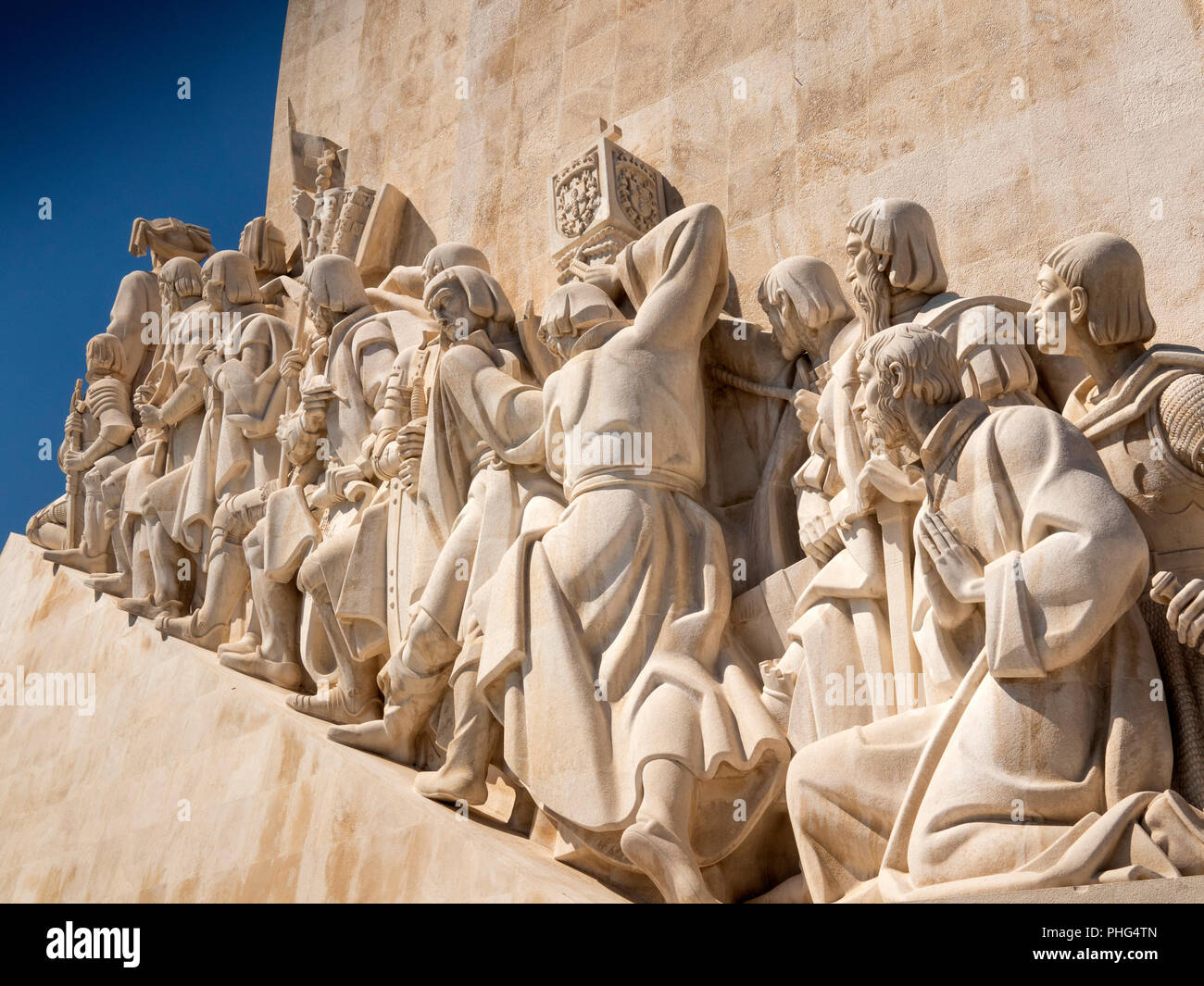 Portugal, Lisbon, Belem, Padrao dos Deccobrimentos, the discoveries monument, memorial to seafaring explorers, statues, detail - Stock Image