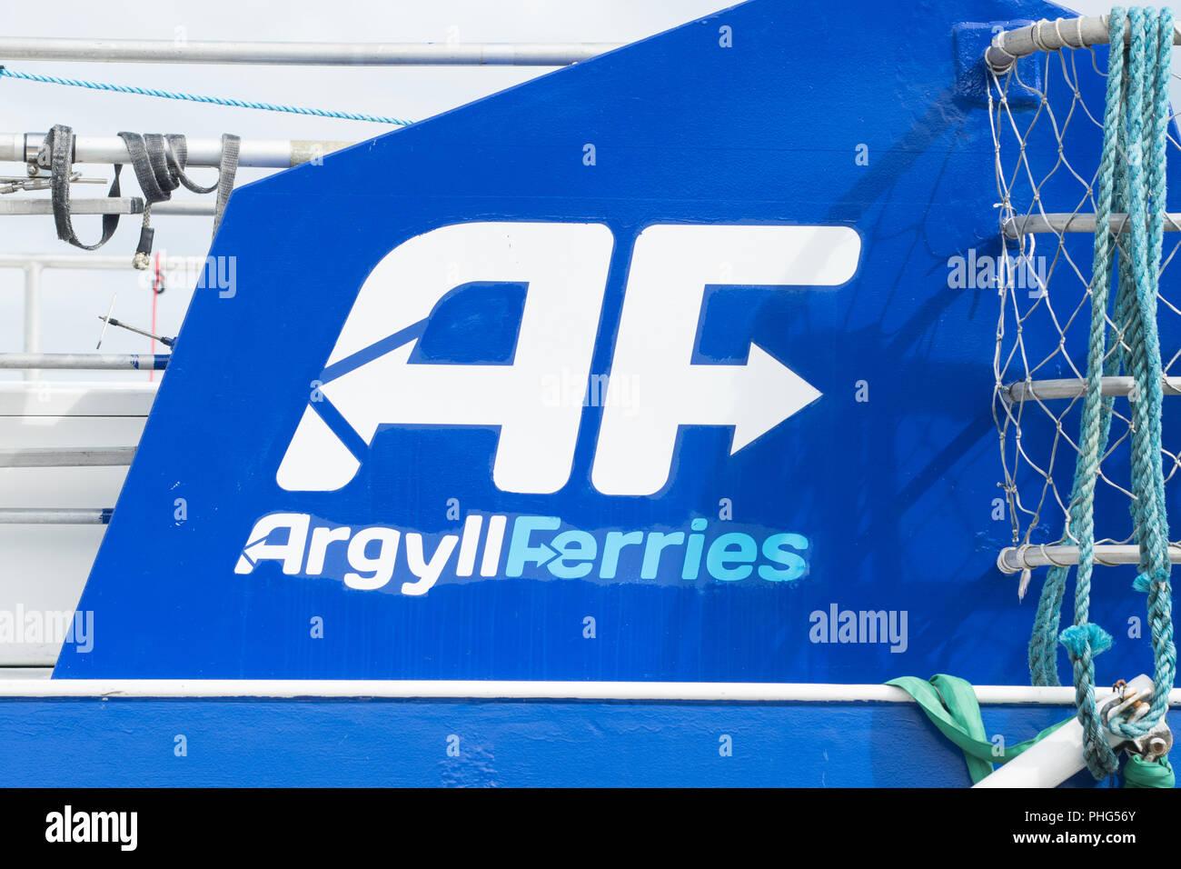 Argyll Ferries logo, Gourock, Scotland, UK - Stock Image