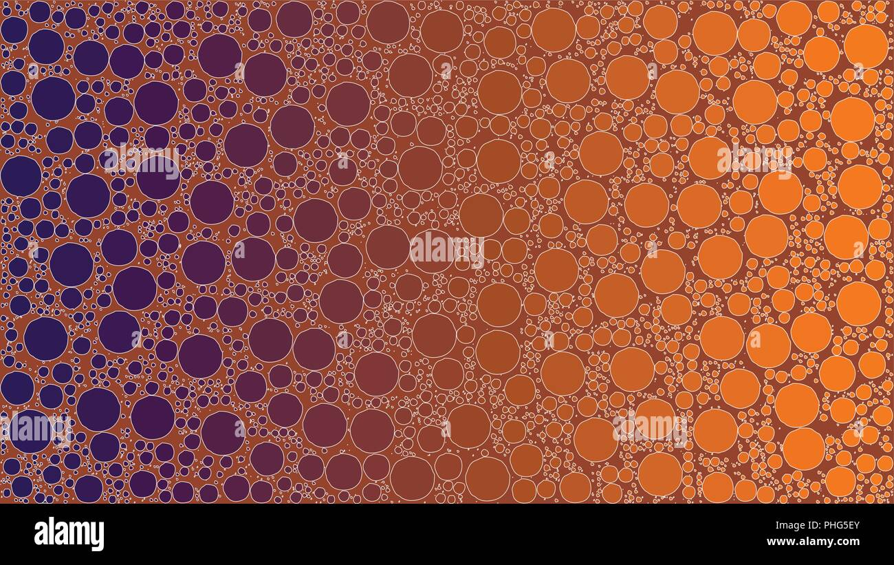 Vector background made of a purple orange gradient and round shapes resembling stylized bubbles. - Stock Image