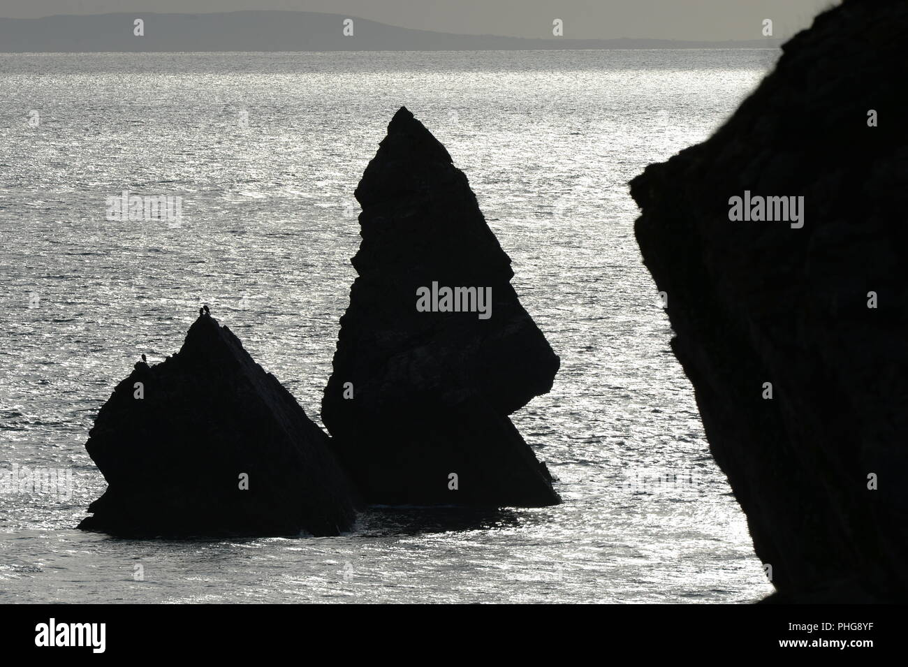 Church Rock near Broad Haven Pembrokeshire coast path - Stock Image