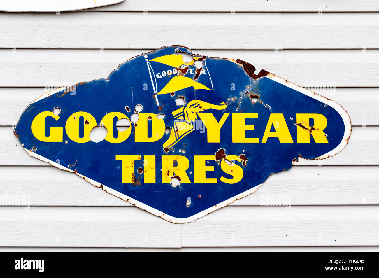 Old Good Year Tires sign at Chap's Museum at Millville in the Codroy Valley, Newfoundland.  A small personal museum of the 1950s and 1960s - Stock Image