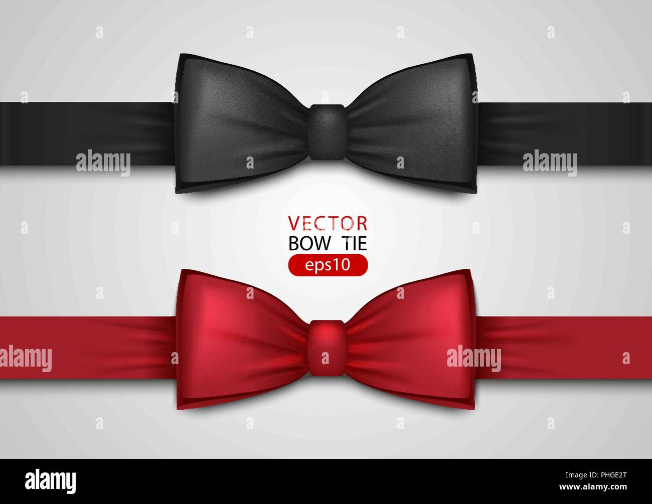 f28e3ba3 Black and red bow tie, realistic vector illustration, isolated on white  background. Elegant silk neck bow. Vip event accessory.