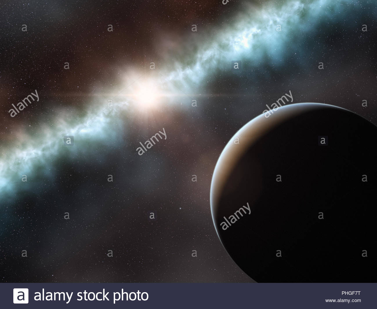 Illustration of a frequency comb and the sun - Stock Image