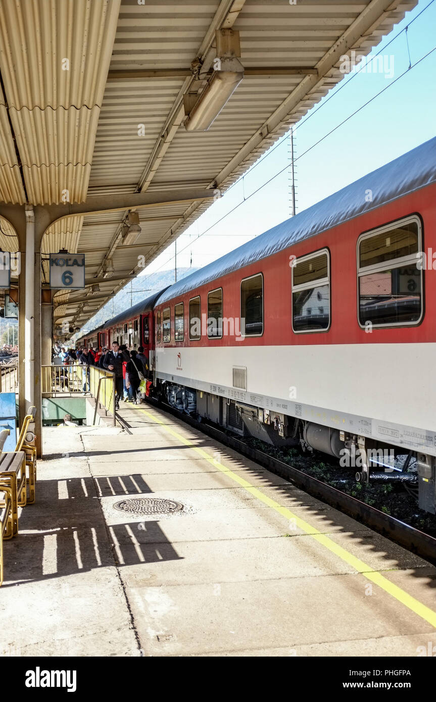 Intercity train at Vrutky station - Stock Image