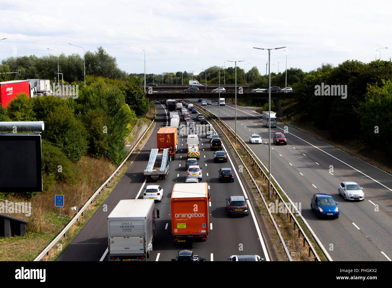 traffic jam due to accident on M4 motorway at junction 12