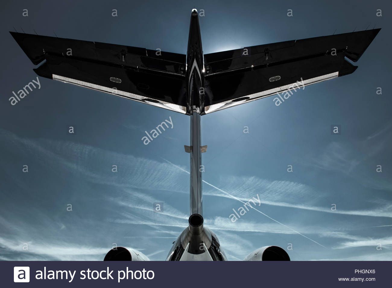 Tailplane of a jet - Stock Image