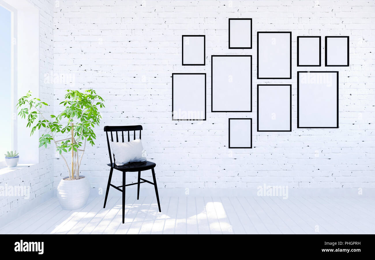 White brick modern living room interior with living space and photo ...