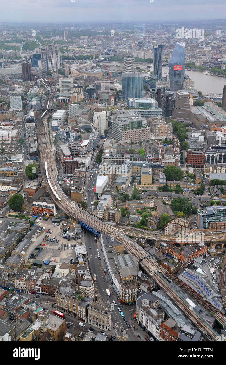 Train lines from the Shard, London, looking West - Stock Image