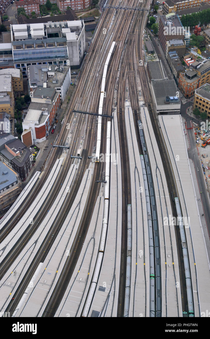 Train lines from London Bridge station, viewed from the Shard - Stock Image