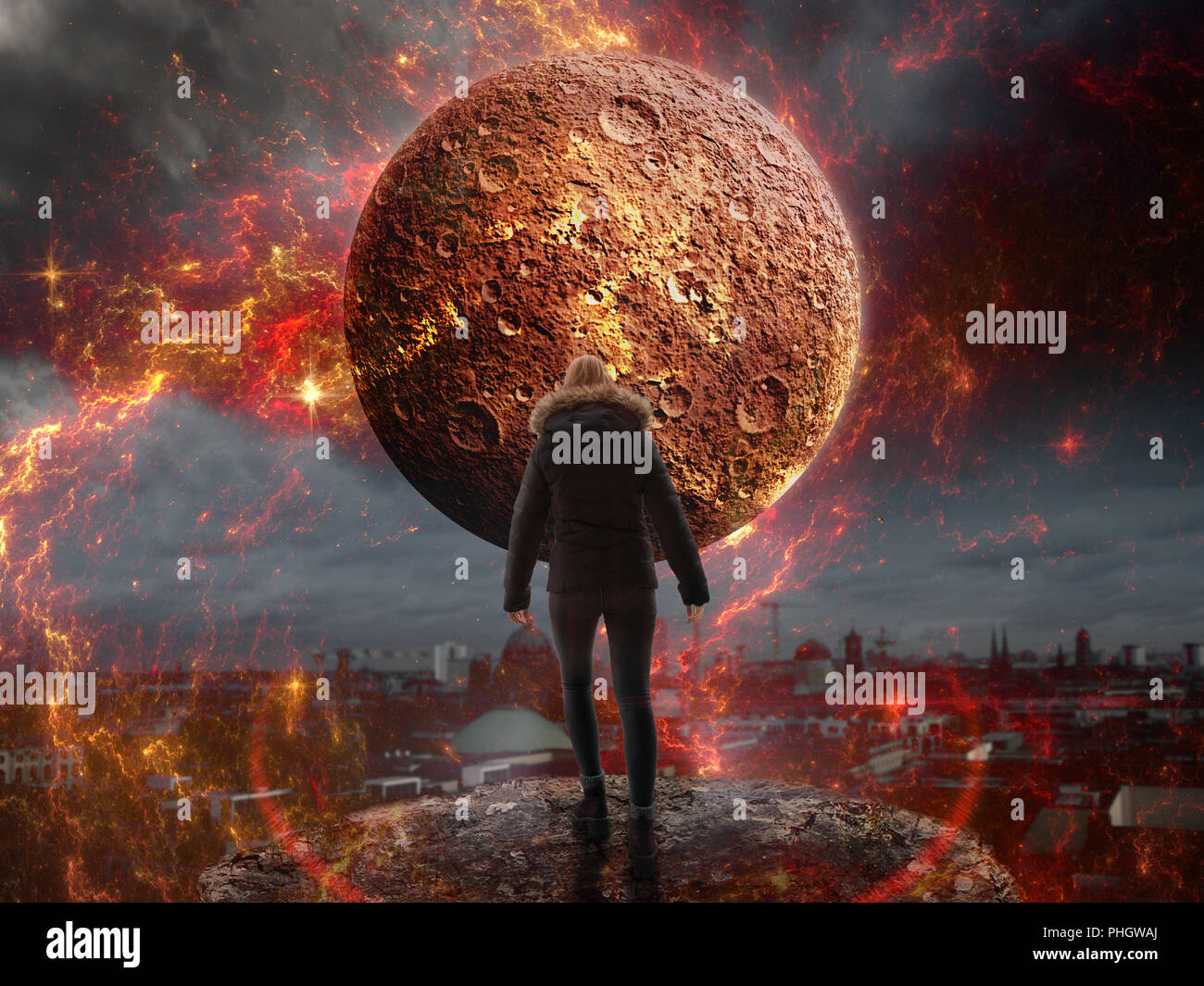 picture composing armageddon - Stock Image
