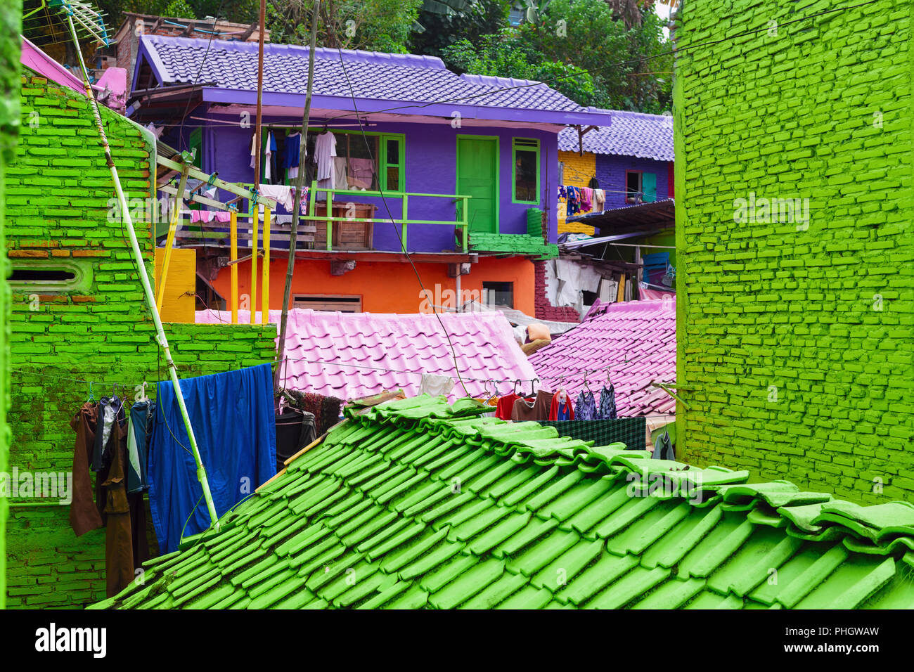 View Of Old Colorful Houses Village With Tiled Roofs Painted