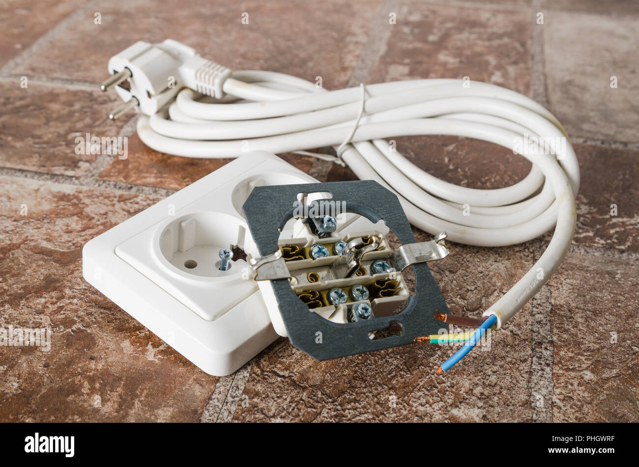 Wiring For Electrical Appliances Stock Photos Socket Electric And Cable Close Up Image