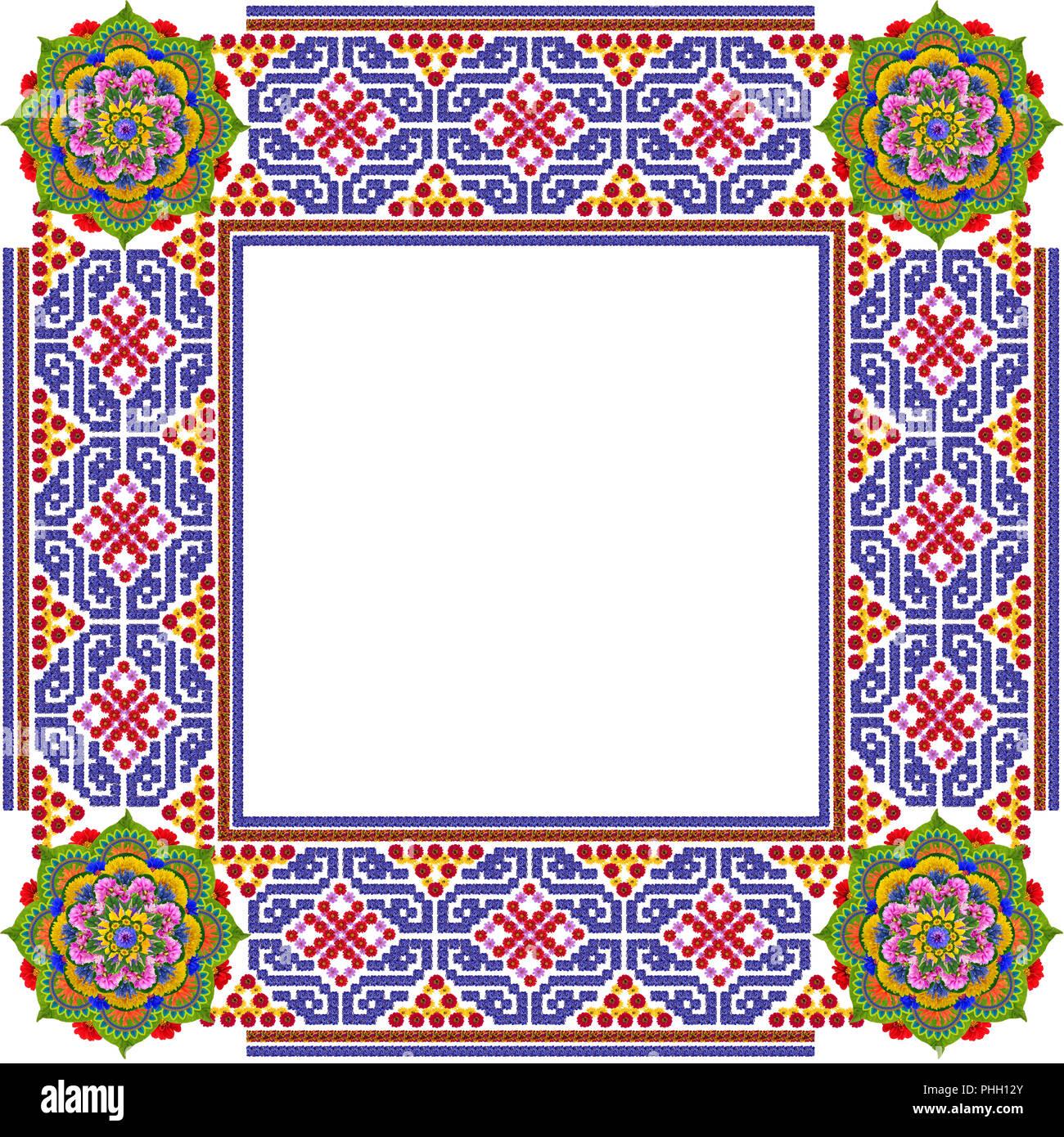 Square simple mandalas photo frame Stock Photo: 217347619