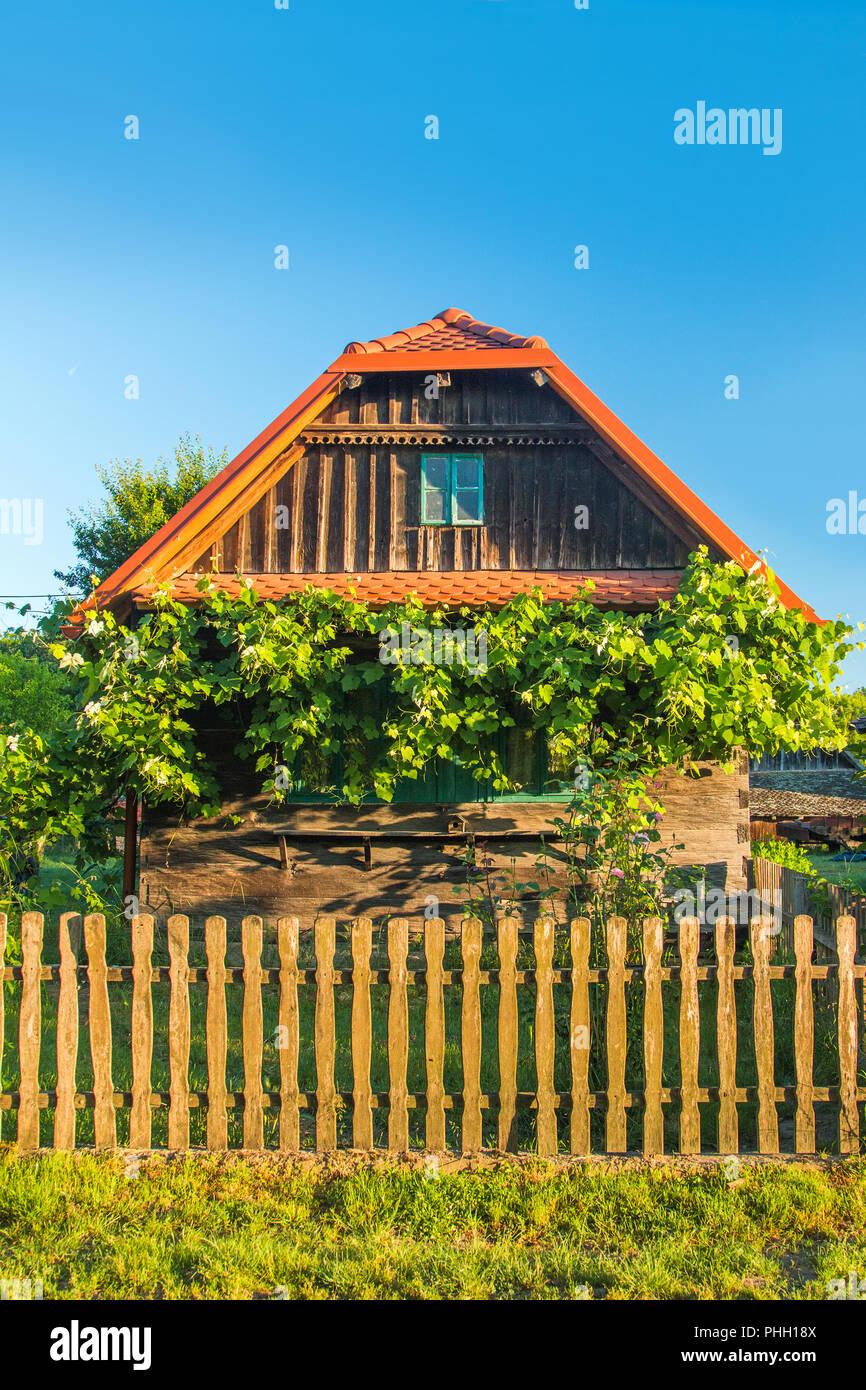Idyllic old traditional wooden house with bird home and wine plant in Lonjsko polje, Croatia - Stock Image