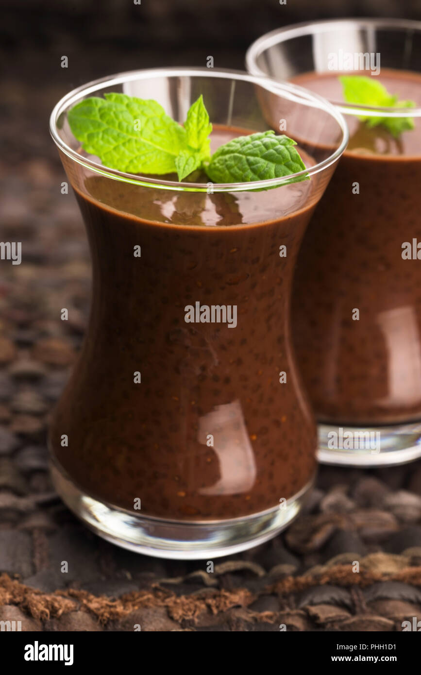 Chocolate chia seeds pudding Stock Photo