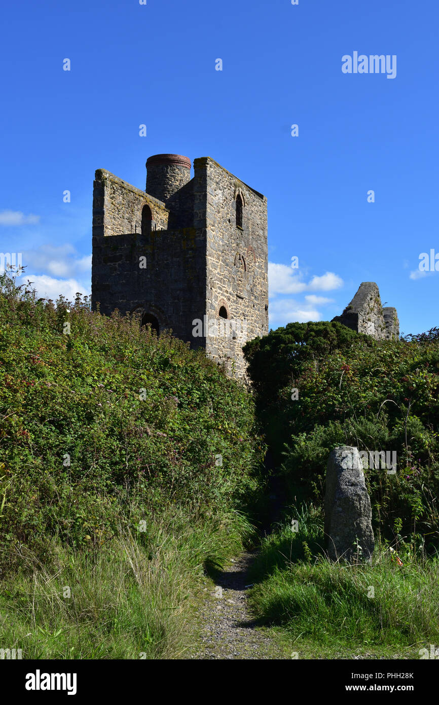 Ruins of an Engine House in Penwith, Cornwall Stock Photo
