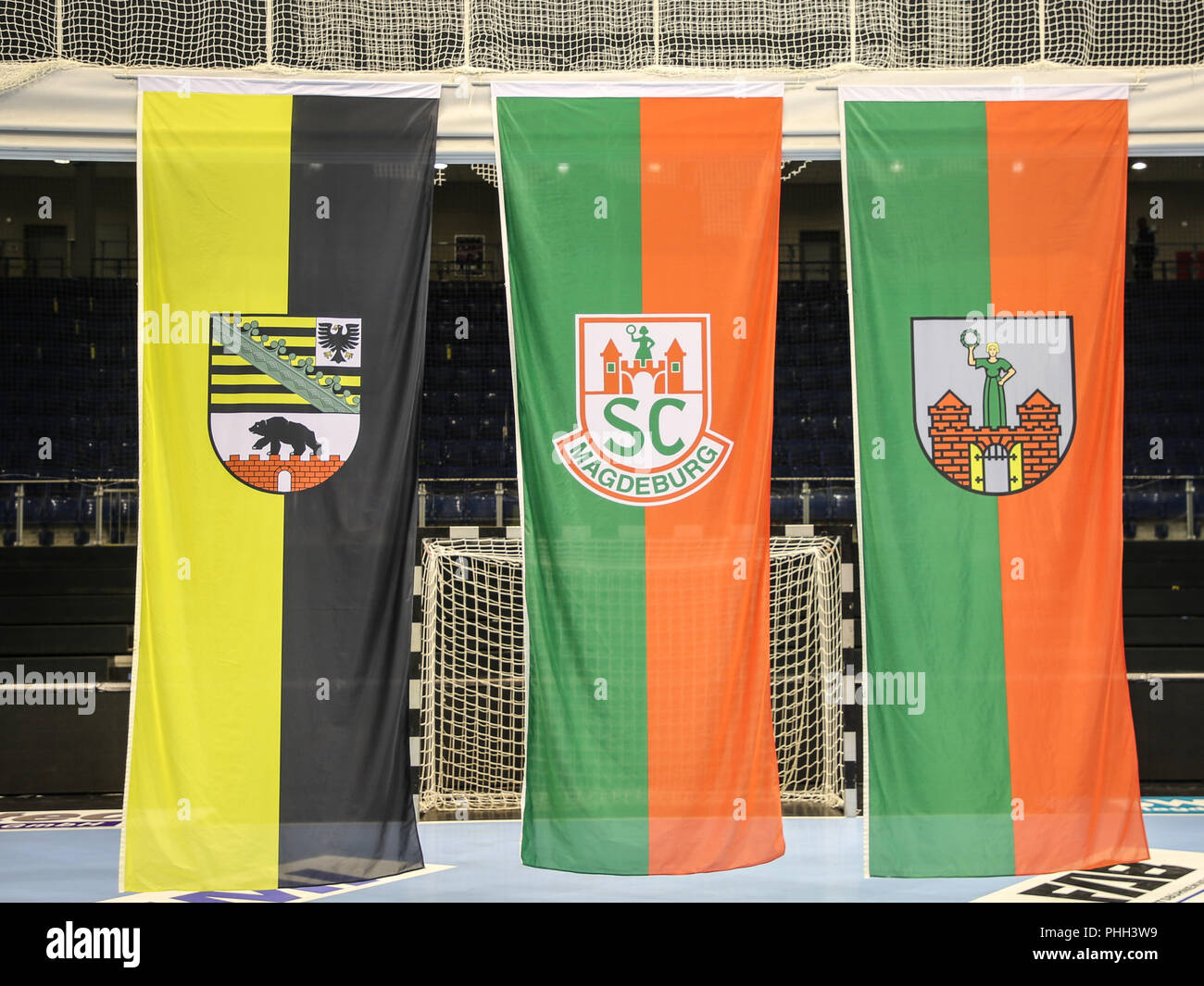 Flags in the GETEC ARENA Magdeburg Saxony-Anhalt - Stock Image