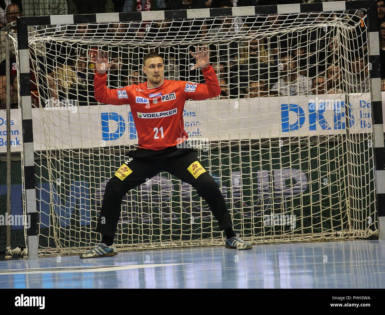 handball player,Goalkeeper Dario Quenstedt (SC Magdeburg) - Stock Image