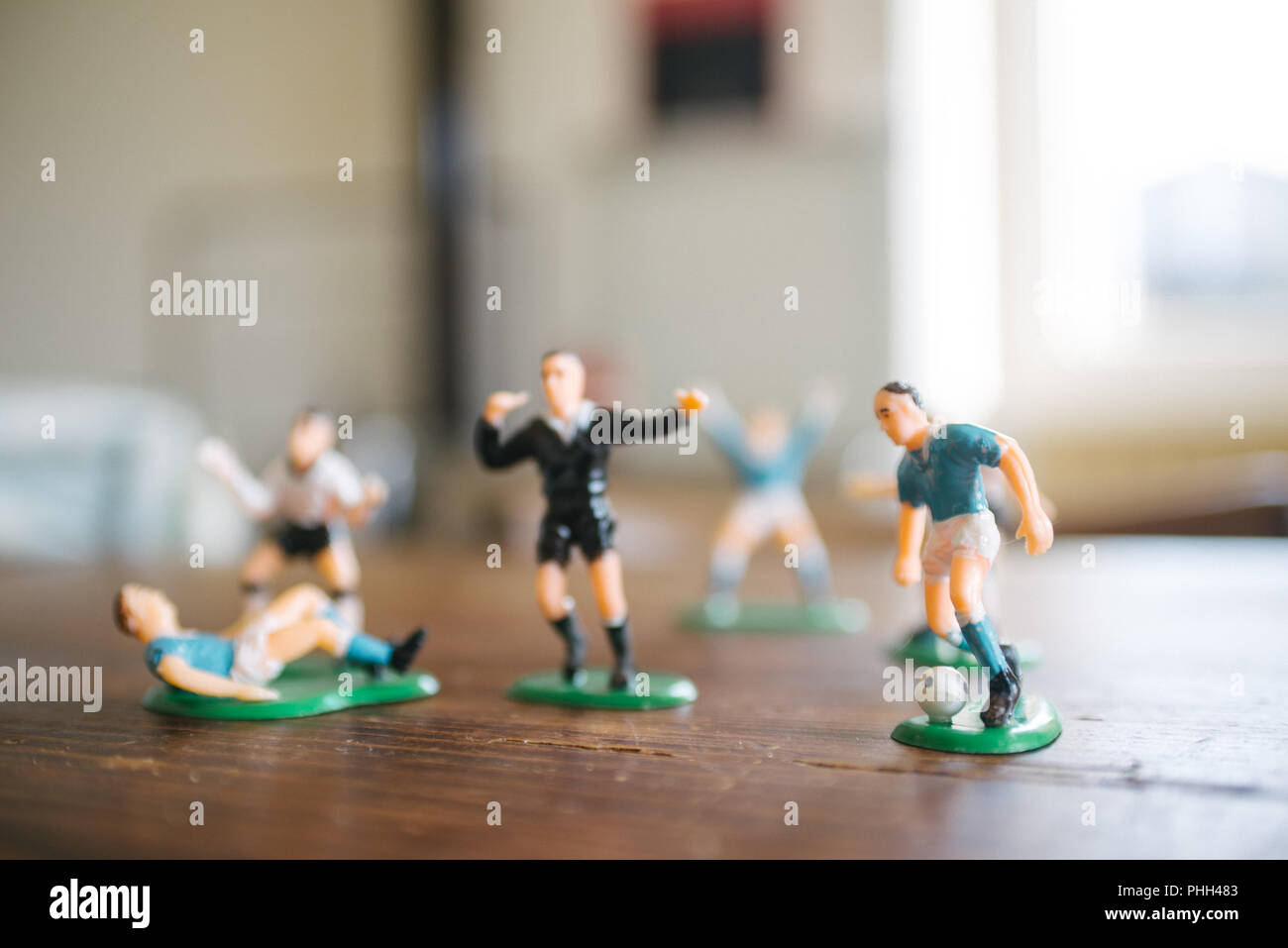 plastic figurines of soccer players - Stock Image